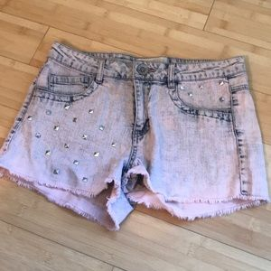 High waisted acid wash jean shorts